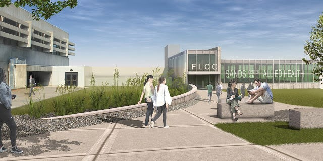 A concept drawing of the planned Sands Center for Allied Health at Finger Lakes Community College.