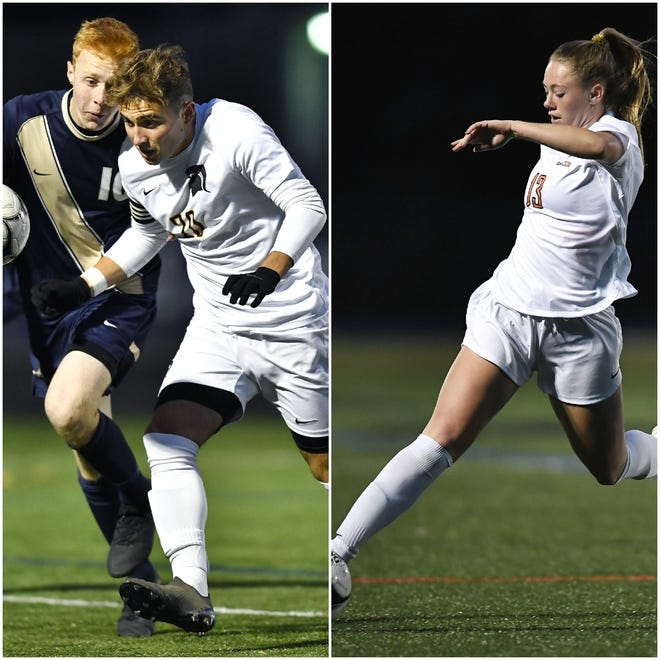 Greece Athena's Dylan Rice, left, and Marion's Chloe DeLyser have been named to the United Soccer Coaches All-America team.