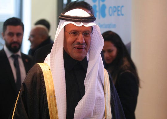 Prince Abdulaziz bin Salman Al-Saud, Minister of Energy of Saudi Arabia, arrives for a meeting of the Organization of the Petroleum Exporting Countries, OPEC at their headquarters in Vienna, Austria, Thursday, Dec. 5, 2019.