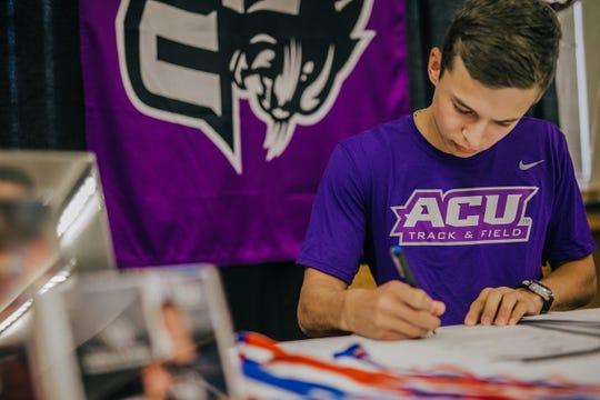 Brady High School's Jack Marshall signs a national letter of intent to run track at Abilene Christian University Nov. 13, 2019.