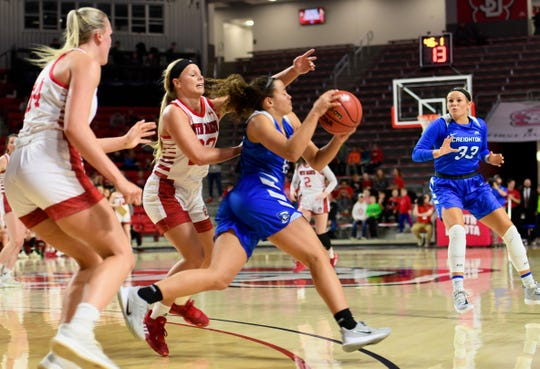 Madison McKeever of USD attempts to stop Rachael Saunders of Creighton as she dribbles the ball during their game Wednesday night, Dec. 4, at the Sanford Coyote Sports Center in Vermillion.