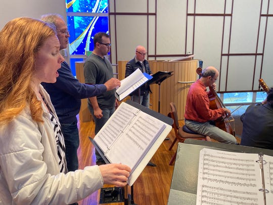 The Barnett Family and Friends band rehearses together in California this April for an upcoming holiday benefit concert in Sioux Falls dedicated to the Children's Home Society