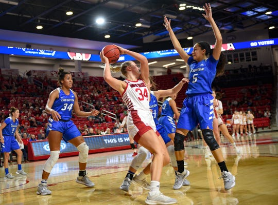 Hannah Sjerven of USD moves to pass the ball around the arms of Jaylyn Agnew of Creighton during their game on Wednesday night, Dec. 4, at the Sanford Coyote Sports Center in Vermillion.