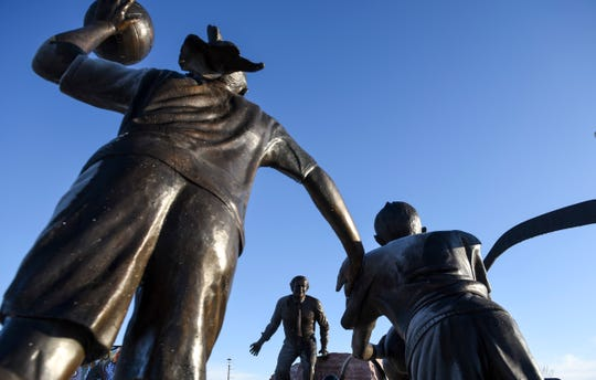 A statue showing T. Denny Sanford is seen on Thursday, Dec. 5, 2019 near the Sanford Sports Complex.