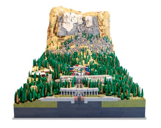 Mount Rushmore, constructed out of 22,000 Lego bricks by Rocco Buttliere.