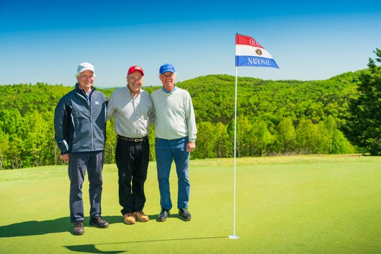 Big Cedar Lodge owner Johnny Morris, center, was accompanied by golf architects Bill Coore, left and Ben Crenshaw, right at the Ozarks National golf course at the lodge. It was named Best New Public Course in America by Golf Digest Dec. 3, 2019.