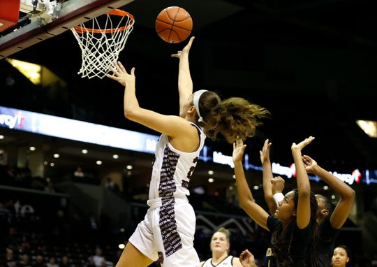 Missouri State Lady Bears sophomore Mya Bhinhar puts up a field goal during a game against the Wichita State Shocker at JQH Arena on Wednesday, Dec. 4, 2019.