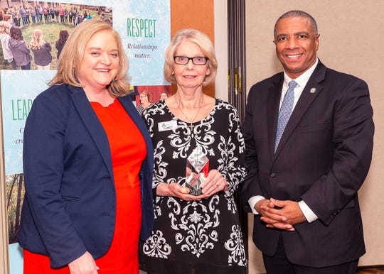 Pictured are Laurie Edmondson, goddaughter of Humanitarian Award founder Jewell Schweitzer Thompson and CFO board member; Jill Bright, founder of Diaper Bank of the Ozarks and recipient of the 2019 Humanitarian Award; and Abram McGull II, chair of the CFO Board of Directors.