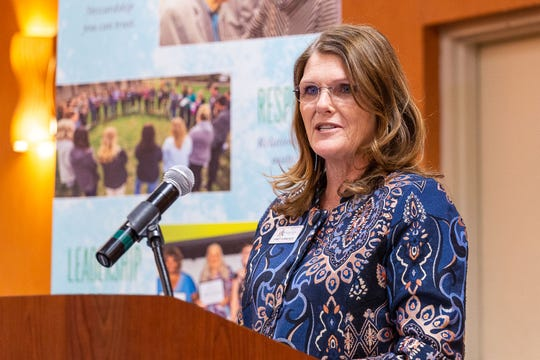 Janet Furneaux, Diaper Bank of the Ozarks board member and nominator of Jill Bright to receive the 2019 Humanitarian Award, spoke at the luncheon honoring Bright on Thursday.