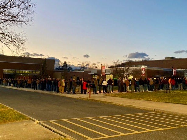 By 5:15 p.m. on Wednesday, the line to get into Augusta County's Second Amendment sanctuary meeting was wrapped around the building.