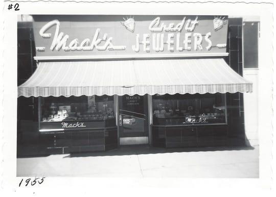A 1955 photo of Mack's Credit Jewelers, the original Mack & Sons store in Baker, Oregon run by Fabian and Irene Mack.