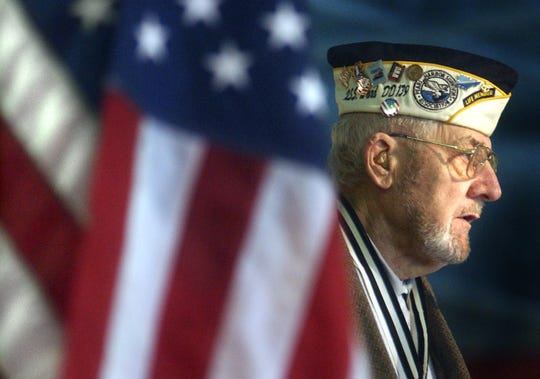 Pearl Harbor survivor Will Lehner addresses a gathering in the Wausau area in this 2003 file photo. Lehner, now 98, has put his life story to print in 2019 and will release the book on the 78th anniversary of the attack on Pearl Harbor.