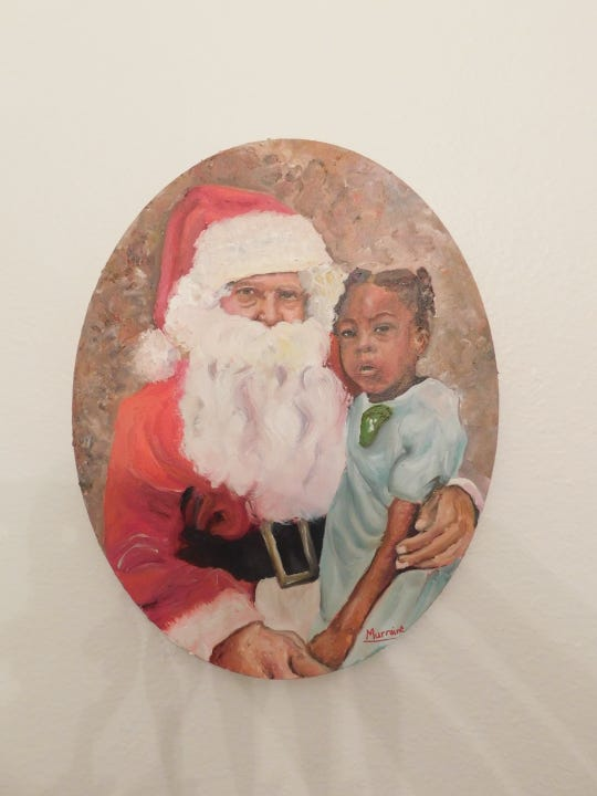 Young Janelle and Santa