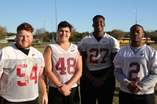 Florida High's offensive line of senior left guard Logan Stinson, junior center Brandon Diman, sophomore left tackle KJ Colston, junior right tackle Christian McLaurin and sophomore right guard Josh Nable (not pictured) is a big reason why the Seminoles are 12-1 and playing in their first state championship game.