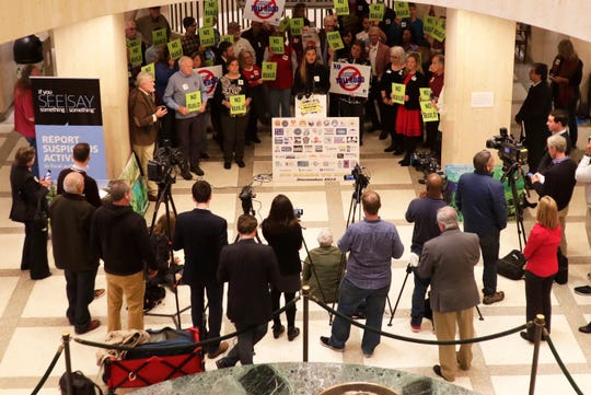 Members of the No Roads to Ruin Coalition gathered in the Capitol Rotunda for a press conference to voice their concerns about the implementation of toll roads.