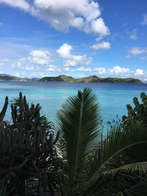 A view of Friis Bay from the rental house Pelican Beach on St. John Island.