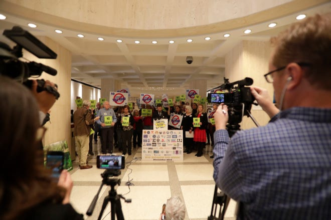 Opponents of the proposed M-CORES toll roads gather in the Capitol Rotunda, in Tallahassee, in 2019 to announce the formation of the No Roads to Ruin Coalition.