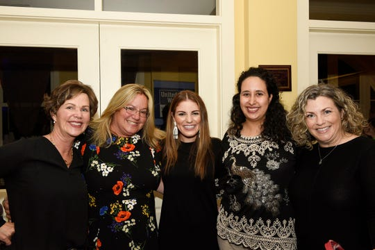 Cindy Green, left, Georgette Beck, author Kristen Hadeed, Nicole Hricik and Jennifer Harris at the leadership seminar hosted by  Women United, anaffinity group of United Way of St. Lucie County, on Nov. 15, 2019, at the Sunrise Theatre Black Box in Fort Pierce.