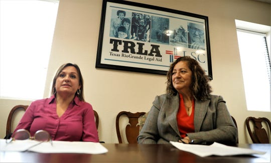 Elsa Rivera and Maria Esparza at the Texas RioGrande Legal Aid offices in El Paso talk about water fees in Fabens.