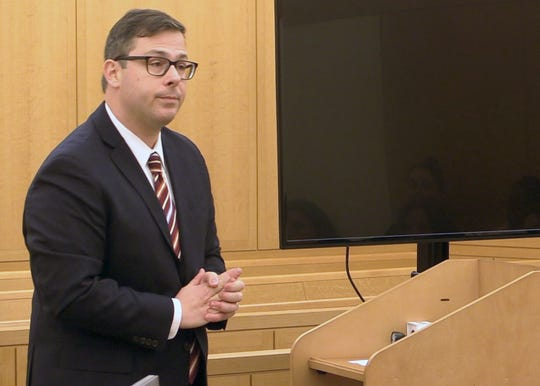 Assistant New York Attorney General Brian Weinberg gives his opening statement in the Lawrence Porcari trial in Westchester County Court in White Plains on Thursday, December 5, 2019.