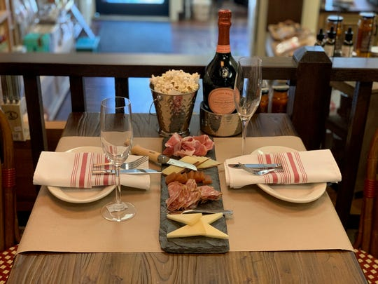 Charcuterie and cheese board -- with bubbly -- at the newly expanded Simard & Co. in Nyack.