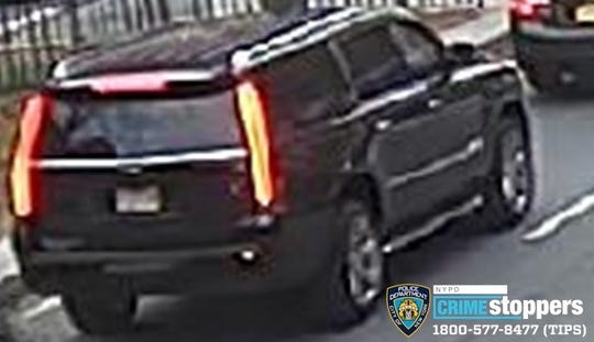 The NYPD said two men abducted a woman in this black SUV in the Bronx on Nov. 19, 2019, before she escaped in Yonkers.