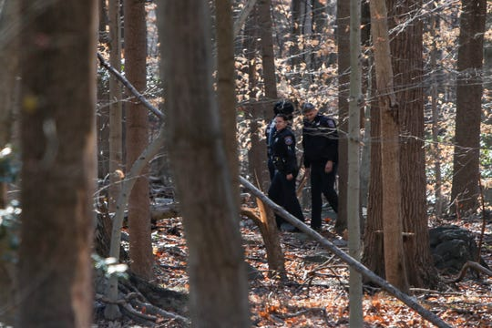 Police search the woods in Alapocas Run State Park in Wilmington, following a bear roaming through the city on Thursday, December 5.