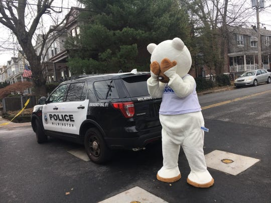 No, this isn't the bear police were looking for. But it was on the scene for some reason.