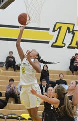 Tri-Valley's Lexi Howe goes up for a shot in Wednesday's 44-34 win over New Philadelphia.