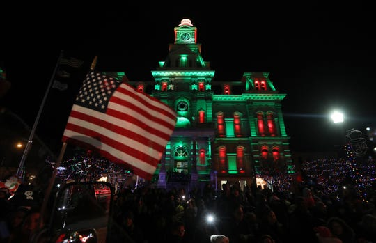 A view of the Muskingum County Courthouse from Santa's fire truck after the courthouse was lit for Miracle on Main Street on Wednesday.