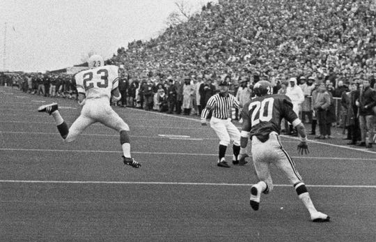 Texas defensive back Danny Lester makes an interception in the end zone against Arkansas during their game on Dec. 6, 1969.
