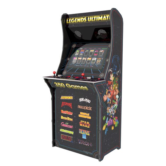 This full-sized Legends Ultimate cabinet ($599) has more than 350 video game classics built-in and you can add more.