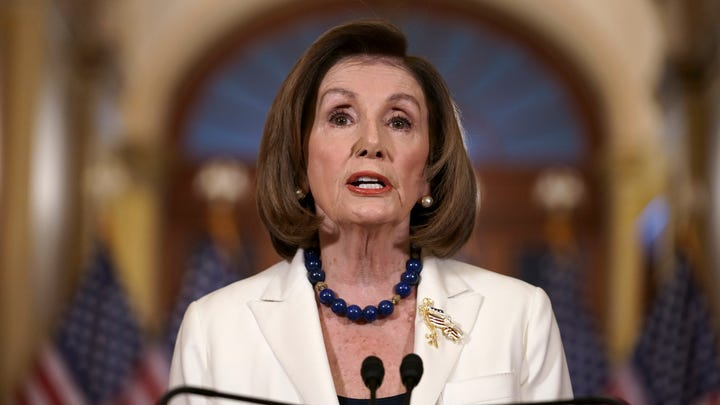 House Speaker Nancy Pelosi, D-Calif., announces in the Capitol in Washington on Dec. 5, 2019, that the House is drafting articles of impeachment against President Donald Trump.