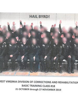 This photo, released by the West Virginia Department of Military Affairs and Public Safety, shows a class of trainees doing a Nazi salute. The state has suspended several employees at the Division of Corrections and Rehabilitation amid an investigation.