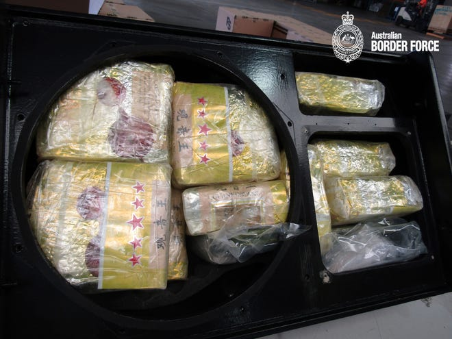 Police estimate the 1.7 tons of crystal meth had a street value of $818 million. The 82 pounds of heroin also seized was the largest haul of that drug in Australia since 2017, police said.