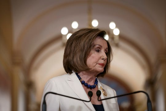 Speaker of the House Nancy Pelosi, D-Calif., finishes a statement at the Capitol in Washington, Thursday, Dec. 5, 2019.  Pelosi announced that the House is moving forward to draft articles of impeachment against President Donald Trump. (AP Photo/J. Scott Applewhite)