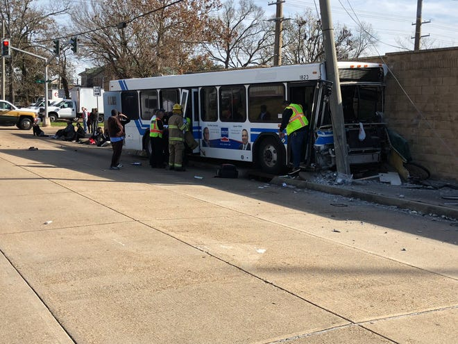 "Sixteen people, including one with ""potentially life-threatening injuries,"" were taken to local hospitals after a crash Thursday morning between a city of Alexandria bus and a pickup truck."