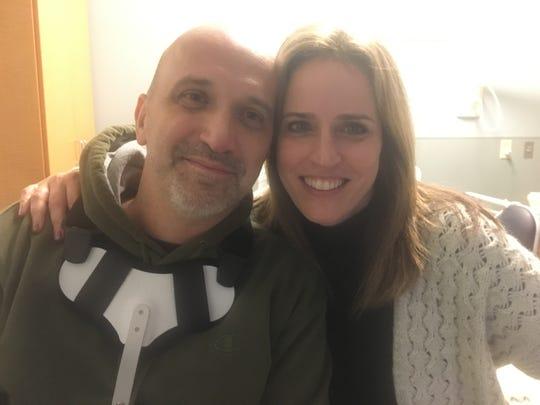 Ozzie Zenger (left) with wife Semra Zenger at Kessler Institute for Rehabilitation in West Orange