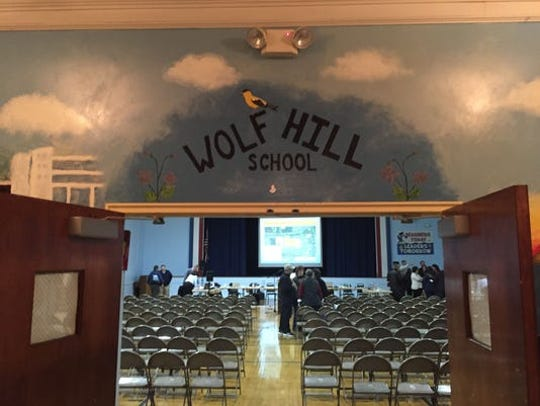 The entrance to the Wolf Hill Elementary School auditorium. Oceanport is asking voters to approve $33.8 million in renovations and additions to this school and Maple Place Middle School.