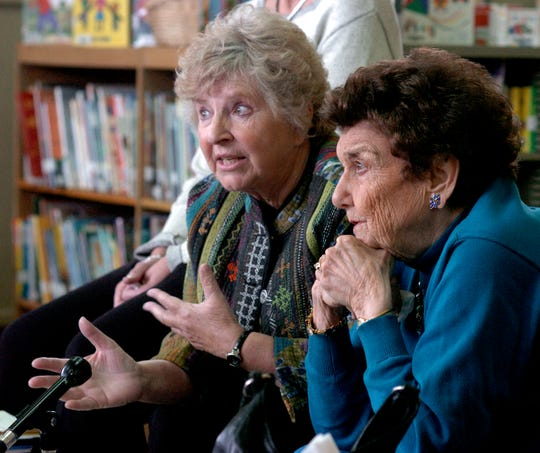 In this 2008 photo, Cathy Campbell (L) and the  late Maggie Konkle talk about their work with Albion Philanthropic Women.