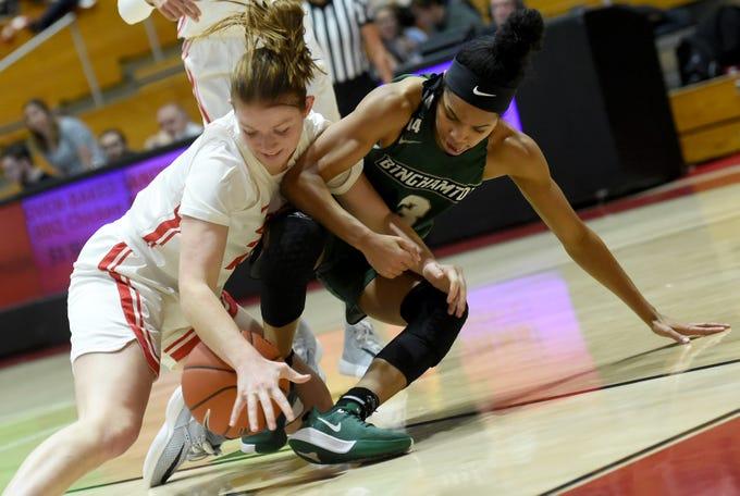 Cornell Big Red vs. Binghamton Bearcats women's basketball at Newman Arena, Cornell University, Thursday, December 5, 2019.