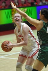 Laura Bagwell-Katalinich of Cornell looks to score during Binghamton University's 59-56 victory Thursday night in Ithaca.