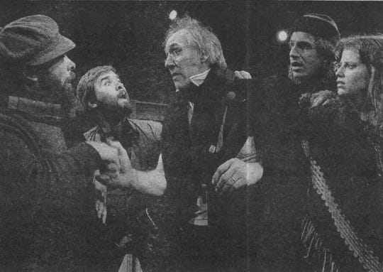 "1993: The ""A Christmas Carol"" was staged at Binghamton university's Anderson Center in 1993. The cast featured, from left: Claus Evans, Bernie Sheredy, John Bielenberg, Tom Kremer and Carol Hanscom."