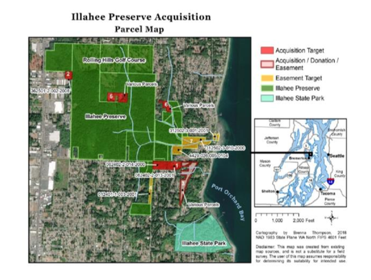The Illahee Preserve has expanded to over 580 acres. The newest addition, Timber's Edge II, adds 10.7 acres to the public forest and provides a safe traveling route for wildlife from the preserve to the state park.