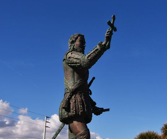 A statue of Juan Ponce de Leon is among the features at Juan Ponce de Leon Landing south of Melbourne Beach.