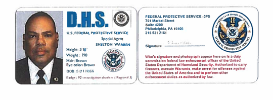 Federal authorities allege Warren E. Shelton of Chesilhurst possessed counterfeit credentials for the U.S. Department of Homeland Security.
