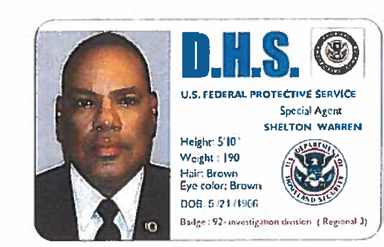 Federal authorities allege Shelton Warren of Chesilhurst obtained fake IDs that indicated he was a special agent with the U.S. Federal Protective Service.