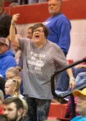 Zane Trace senior Cam Evans' mom Beth gets upset as her son was fouled during a game against Logan Elm Thursday night in Circleville, Ohio.