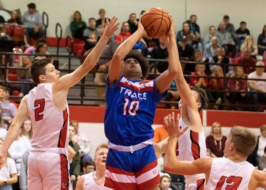 Zane Trace High School's Cam Evans goes up for a shot during a 56-47 win over Logan Elm at Logan Elm High School in Circleville, Ohio, on Thursday, Dec. 5, 2019.