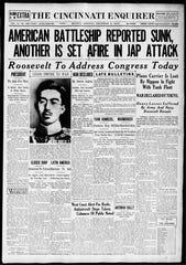 The Cincinnati Enquirer, December 8, 1941, reporting Japan's attack on Pearl Harbor.